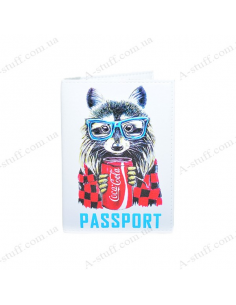 "Cover on the passport eco-leather ""Raccoon"""