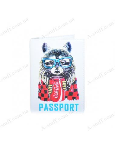 """Обложка на паспорт экокожа """"Енот"""""""