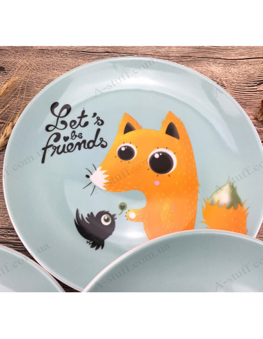 """Children's plate """"Let's be Friends"""""""