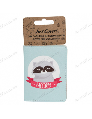 """Cover on the id passport eco leather """"Raccoon and fox"""""""