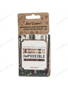 """Обкладинка на id паспорт екошкіра """"Nothing impossible"""""""