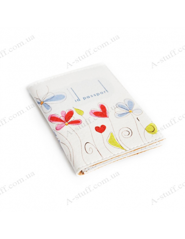 """Cover for the id passport """"Flowers on a white background"""""""
