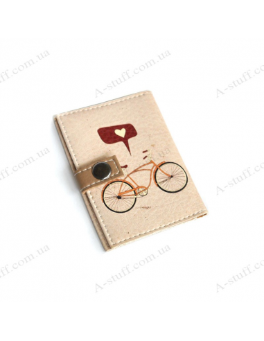 """Cover for the id passport """"Bicycle with a heart"""""""