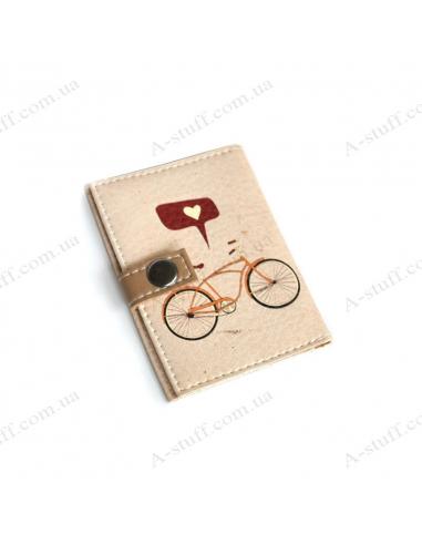 "Обкладинка для id паспорта ""Велосипед з сердечком"""