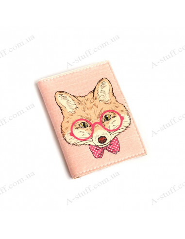 """Cover for the id passport """"Fox with glasses"""""""