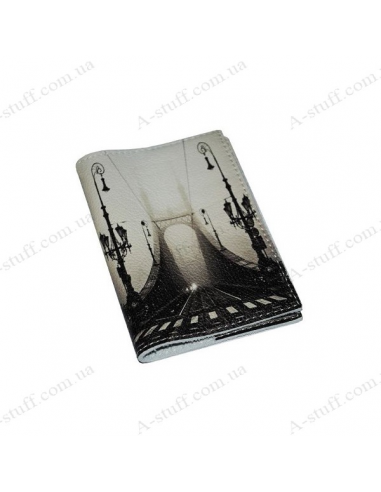 "Cover for passport leather ""Bridge in the Fog"""