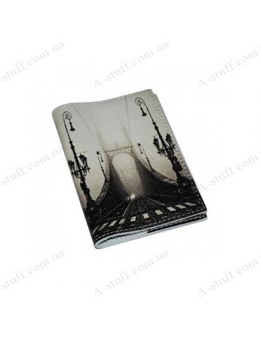 """Обложка для паспорта кожа """"Мост в тумане"""""""