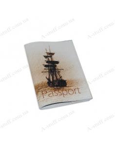 """Обкладинка для паспорта шкіра """"Кораблик"""""""