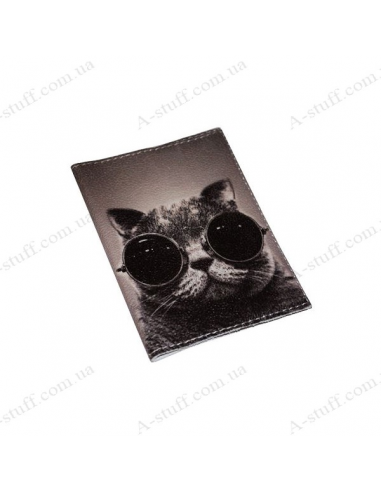 "Cover for passport leather ""Cool cat"""