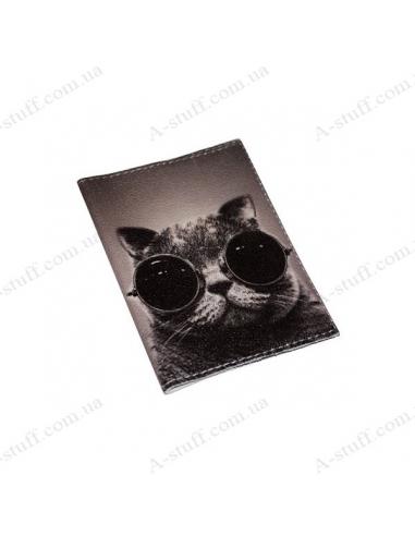 """Обкладинка для паспорта шкіра """"Крутий кіт"""""""