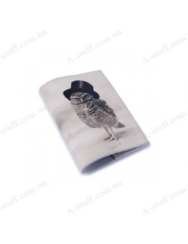 """Cover for passport leather """"Owl in a Pince-nez"""""""