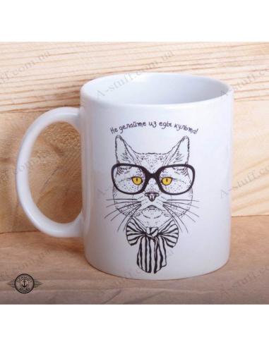 """Чашка """"Кіт - Не робіть з їжі культу"""""""