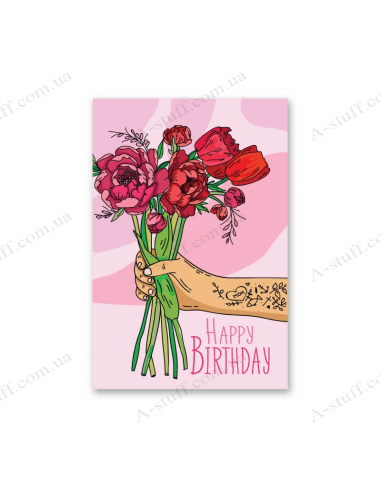 """Листівка """"Happy Birthday"""" - півонії"""