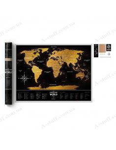 """Скретч мапа світу """"Travel Map Black World"""" (англійською мовою)"""
