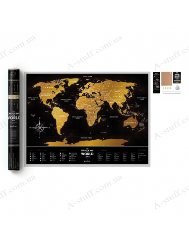 """Скретч мапа світу """"Travel Map Black World"""""""