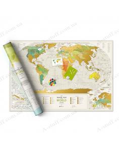 """Скретч карта мира """"Travel Map Geography World"""" (на английском языке)"""