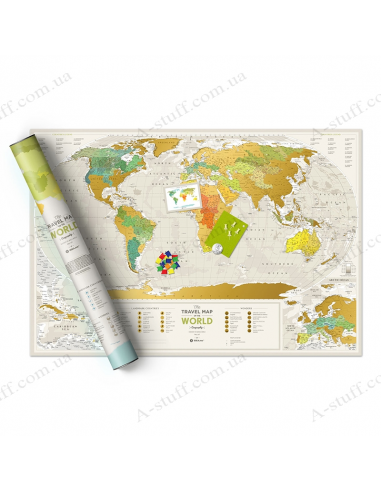 """Scratch Map of the World """"Travel Map Geography World"""" (in English)"""