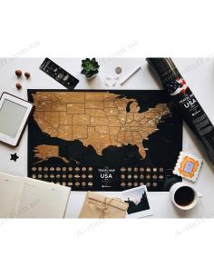 """Скретч карта США """"Travel Map USA Black"""" (на английском языке)"""