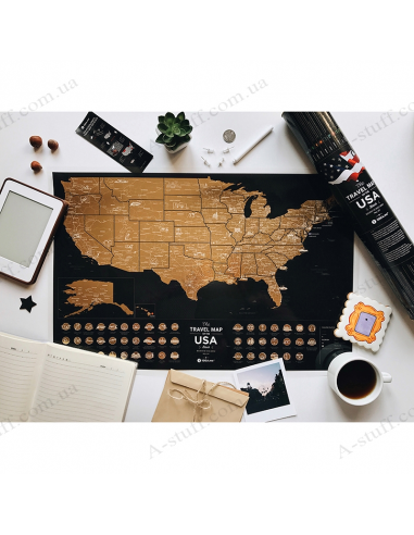"""Scratch USA map """"Travel Map USA Black"""" (in English)"""