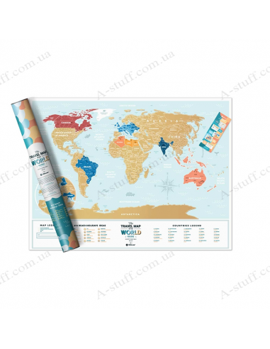 """Scratch Map of the World """"Travel Map Holiday Lagoon World"""" (in English)"""