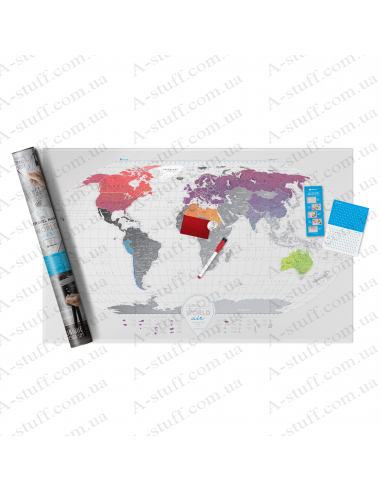 """Scratch Map of the World """"Travel Map AIR World"""" (in English)"""