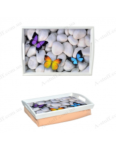 """Tray on a pillow for breakfast """"Butterflies on the rocks"""""""