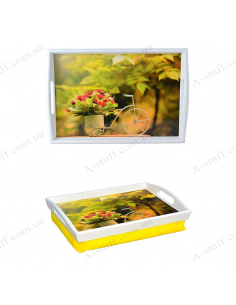 """Tray on a pillow for breakfast """"Flowers in a bicycle"""""""