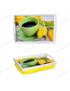 """Tray on a pillow for breakfast """"Coffee and tulips"""""""