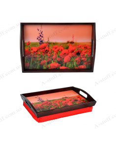 """Tray on a pillow for breakfast """"Poppies"""""""