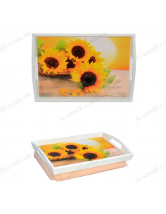 """Tray on a pillow for breakfast """"Three sunflowers"""""""