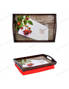 """Tray on a pillow for breakfast """"Rose and heart pendant"""""""