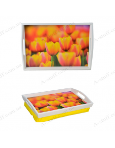 "Tray on a pillow for breakfast ""The sea of tulips"""