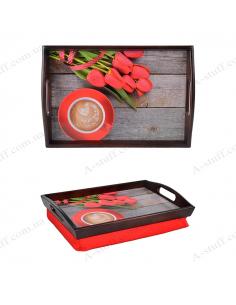 """Таця на подушці для сніданку """"Кава і червоні тюльпани"""""""