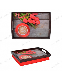 "Tray on a pillow for breakfast ""Coffee and red tulips"""