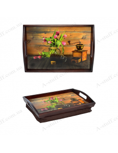 """Tray on a pillow with handles """"Tulips and coffee"""""""