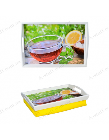 """Tray on a pillow with handles """"Tea with mint and lemon"""""""