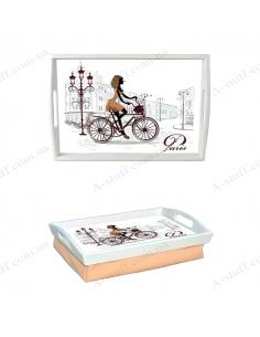 """Піднос на подушці з ручками """"Дівчина на велосипеді"""""""