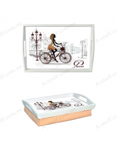 "Tray on a pillow with handles ""Girl on a bicycle"""
