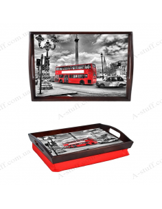 """Tray on a pillow with handles """"London Bus"""""""