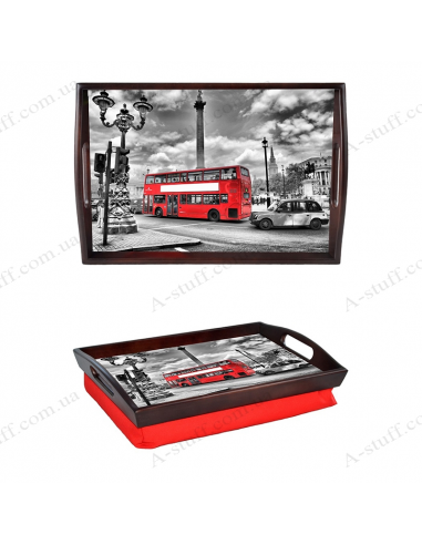 "Tray on a pillow with handles ""London Bus"""