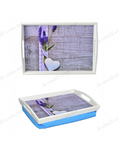 """Tray on a pillow with handles """"Lavender and heart"""""""