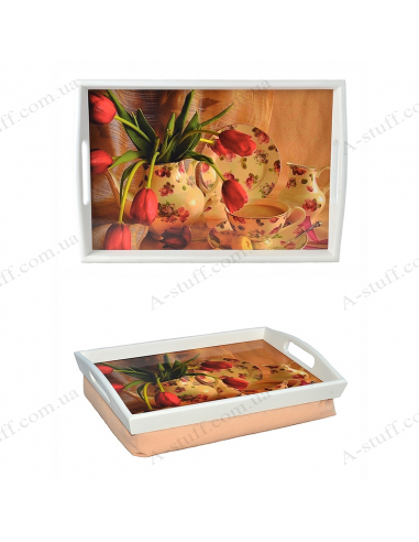 """Tray on a pillow with handles """"Tulips and tea"""""""