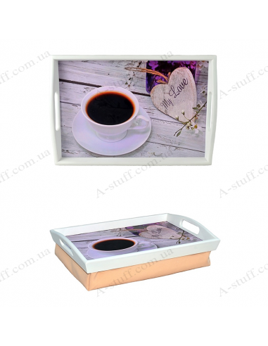 """Tray on a pillow with handles """"My love"""""""