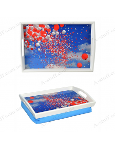 """Tray on a pillow with handles """"Balloons in the sky"""""""
