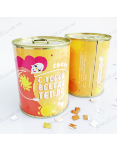 "Canned candle ""It's always warm with you"""
