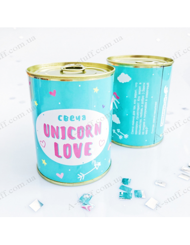 """Canned candle """"Unicorn love"""""""