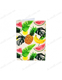 """Cover on the passport eco-leather """"Fruit leaves"""""""