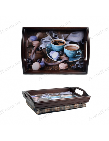 """Tray on a pillow with handles """"Coffee and macaroons"""""""