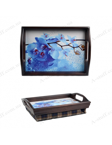 "Tray on a pillow with handles ""The Blue Orchid"""