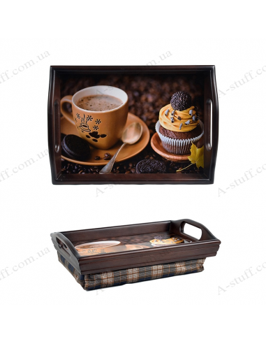 """Tray on a pillow with handles """"Coffee and muffin"""""""